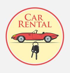 Car rental icon in vintage style vector