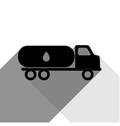 Car transports oil sign black icon with vector