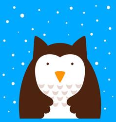 cartoon owl snow vector image