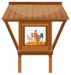Chicken coop with chickens and eggs inside vector