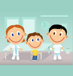 Child with cruthes in the clinic vector