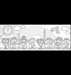 children hold brushes and pencils vector image