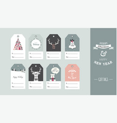 christmas gift tag set in retro style vector image