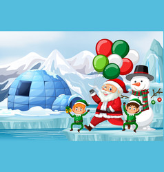 Christmas scene with santa and elf vector