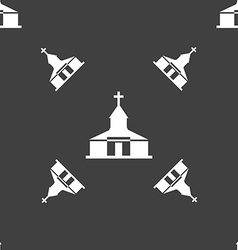 Church Icon sign Seamless pattern on a gray vector