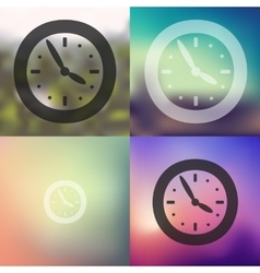 Clock icon on blurred background vector