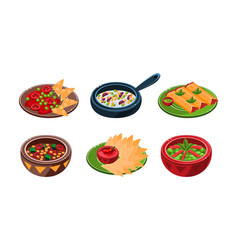 collection of mexican traditional food dishes vector image