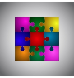Color Puzzles Piece JigSaw Object - 9 Pieces vector