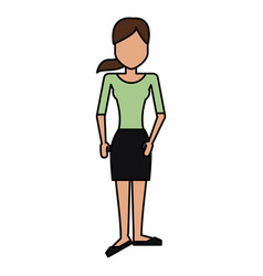 Colorful caricature image faceless woman with vector