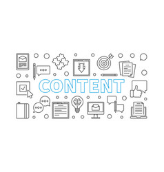 content outline minimal horizontal banner vector image