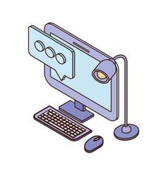 Desktop computer screen with email notifications vector