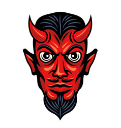 Devil head with horns colored vector