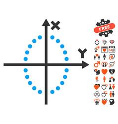 Ellipse plot icon with lovely bonus vector