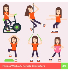 Exercises Carachters Women 1 vector image
