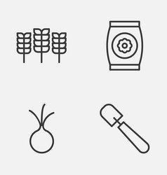 farm icons set collection of wheat fertilizer vector image