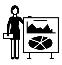 finance woman chart icon simple style vector image