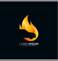 Fire car logo design vector