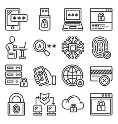 firewall security and protection icons set vector image