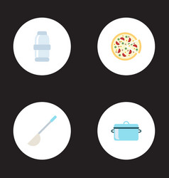 Flat icons pepperoni soup spoon casserole and vector