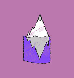 Flat shading style icon iceberg in water vector