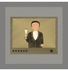 flat shading style icon President on TV vector image