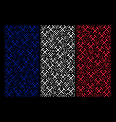 French flag mosaic of mining hammers items vector