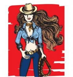 Girl cowboy vector