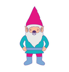 gnome with costume colorful and purple contour vector image