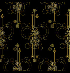 Gold cherry flowers seamless pattern vector