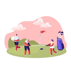 group young people playing golf on course vector image