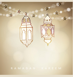 Hand drawn illuminated arabic lamps lanterns vector