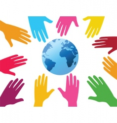 hands and globe background vector image