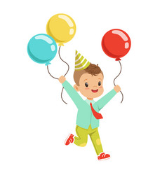 Happy sweet little boy wearing a party hat running vector