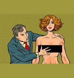 harassment male businessman groping a woman vector image