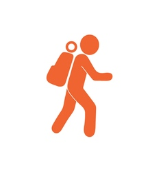 Hiking tourist icon vector