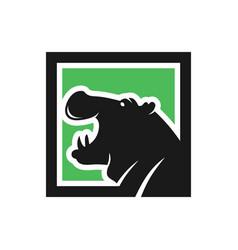 hippopotamus animal modern logo vector image