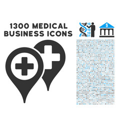 Hospital locations icon with 1300 medical business vector