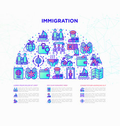 immigration concept in half circle vector image