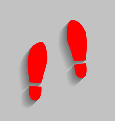 Imprint soles shoes sign red icon with vector