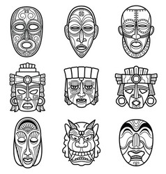 Indian aztec and african historic tribal mask vector