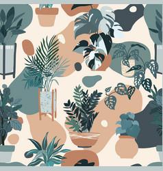 Indoor plants seamless pattern hand drawn flat vector