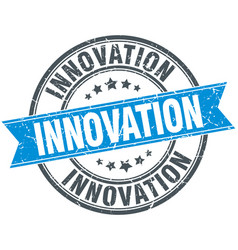 Innovation blue round grunge vintage ribbon stamp vector