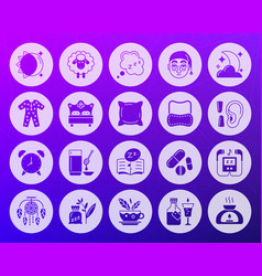 Insomnia shape carved flat icons set vector