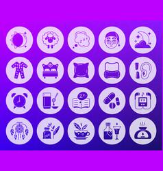 insomnia shape carved flat icons set vector image