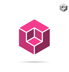 Isometric cubic shape vector image