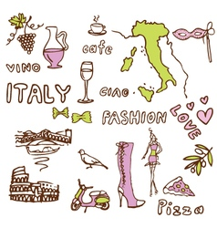 Italy sights symbols vector