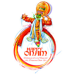kathakali dancer on background for happy onam vector image
