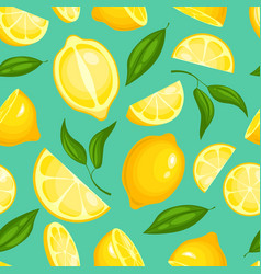 lemon pattern lemonade exotic yellow juicy fruit vector image