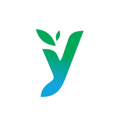 letter y leaves logo icon vector image