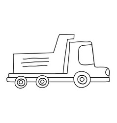 line dump truck industry and contruccion vehicle vector image